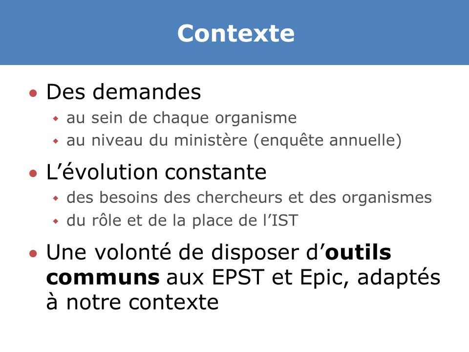 Contexte Des demandes  au sein de chaque organisme  au niveau du ministère (enquête annuelle) L'évolution constante  des besoins des chercheurs et des organismes  du rôle et de la place de l'IST Une volonté de disposer d'outils communs aux EPST et Epic, adaptés à notre contexte