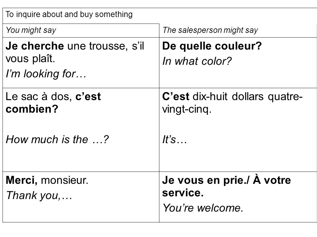To inquire about and buy something You might sayThe salesperson might say Je cherche une trousse, s'il vous plaît.