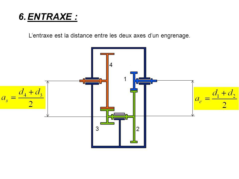 6.ENTRAXE : L'entraxe est la distance entre les deux axes d'un engrenage. 1 2 3 4