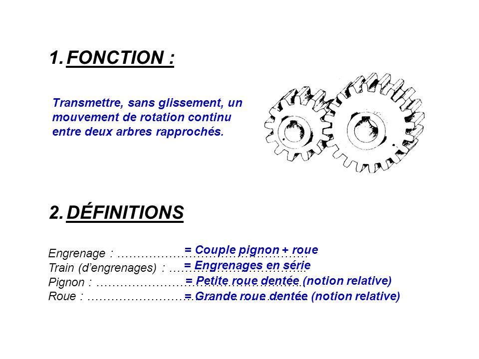 1.FONCTION : 2.DÉFINITIONS Engrenage : ………………………………………… Train (d'engrenages) : ……………………………..