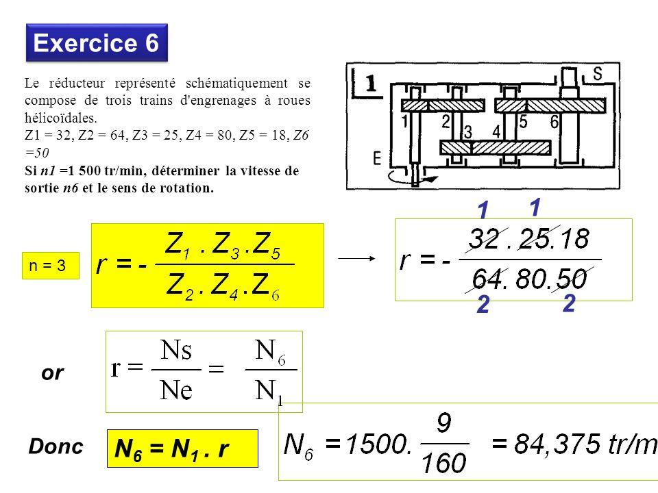 Le réducteur représenté schématiquement se compose de trois trains d engrenages à roues hélicoïdales.