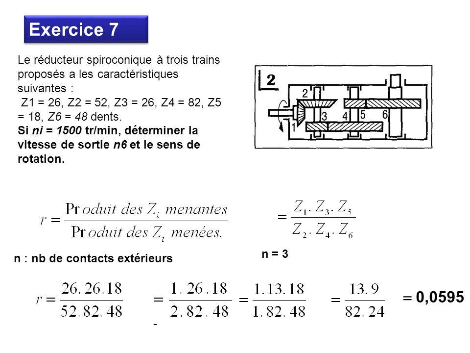 Le réducteur spiroconique à trois trains proposés a les caractéristiques suivantes : Z1 = 26, Z2 = 52, Z3 = 26, Z4 = 82, Z5 = 18, Z6 = 48 dents.