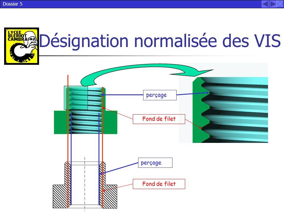 Dossier 5 Désignation normalisée des VIS perçage Fond de filet perçage