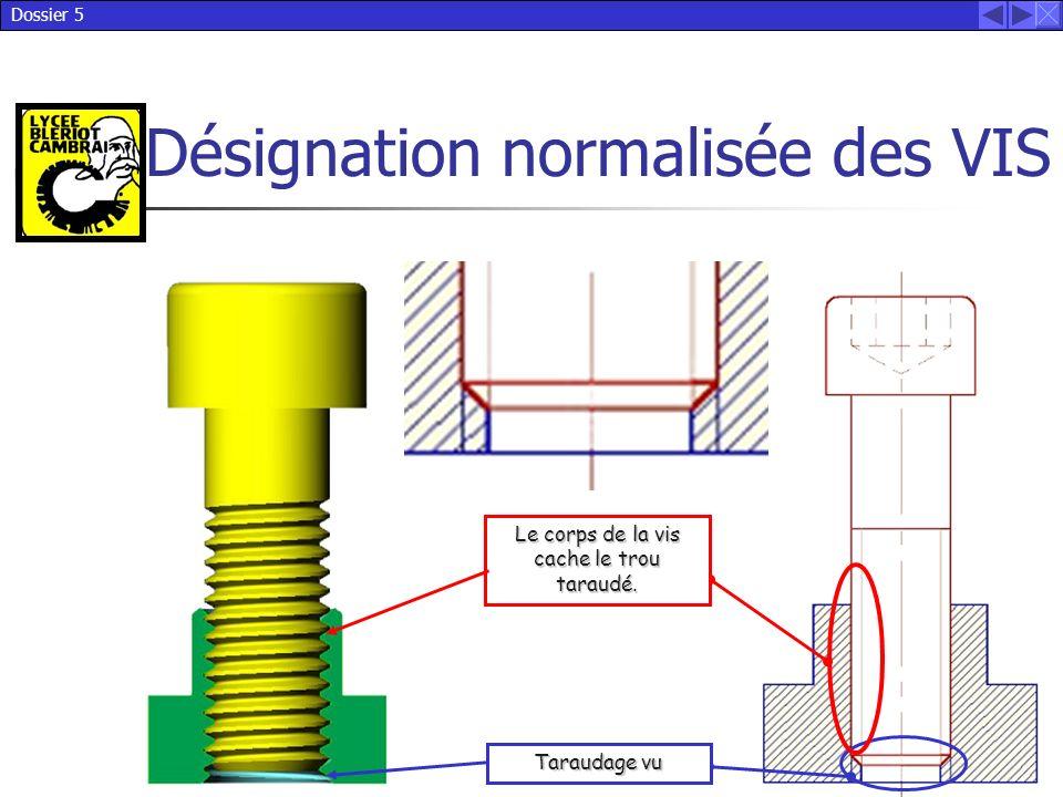 Dossier 5 Désignation normalisée des VIS Le corps de la vis cache le trou taraudé. Taraudage vu
