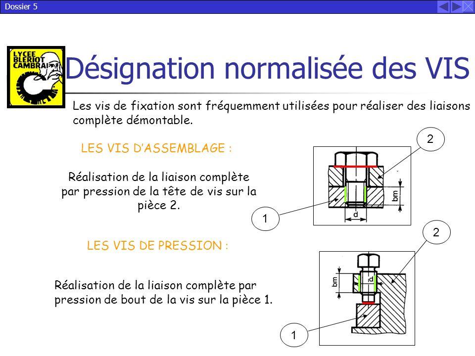 Dossier 5 Désignation normalisée des VIS LES VIS DE PRESSION : Les vis de fixation sont fréquemment utilisées pour réaliser des liaisons complète démo