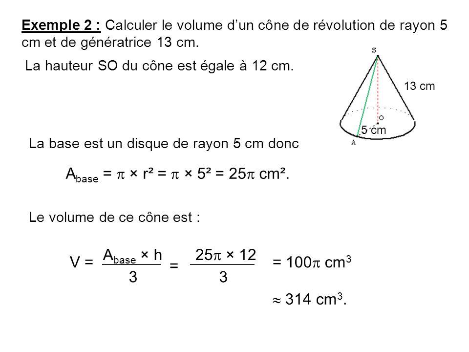 Comment calculer le diametre d un cone