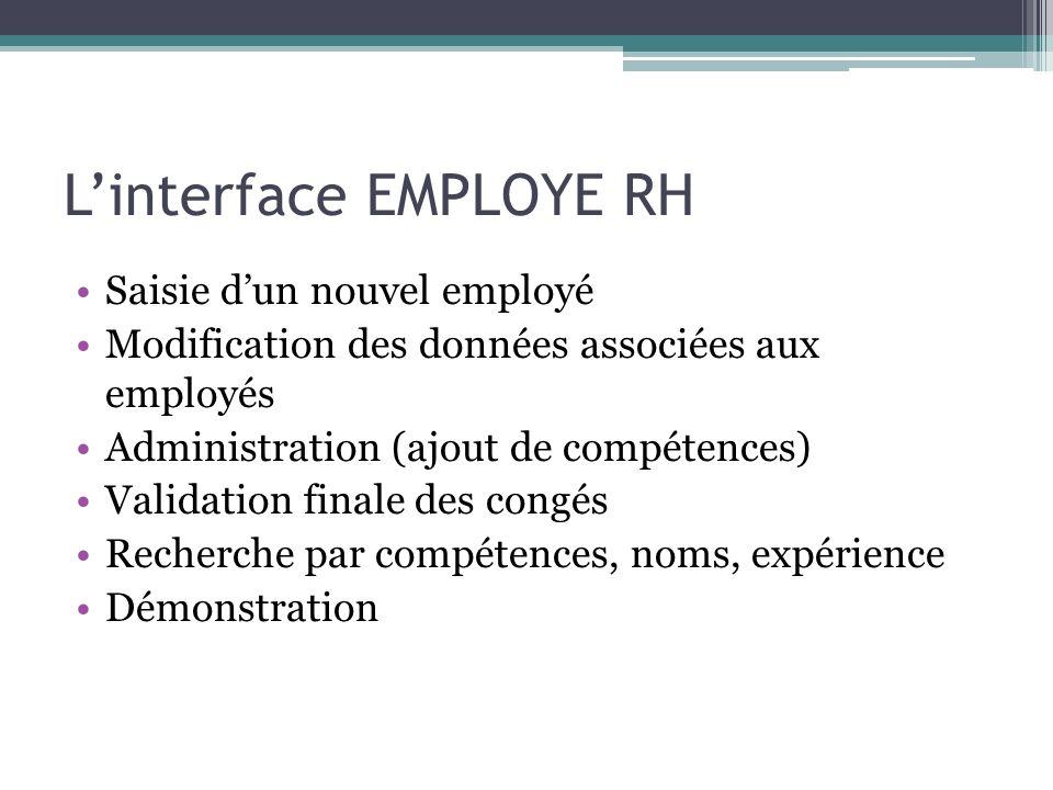 L'interface EMPLOYE RH Saisie d'un nouvel employé Modification des données associées aux employés Administration (ajout de compétences) Validation finale des congés Recherche par compétences, noms, expérience Démonstration