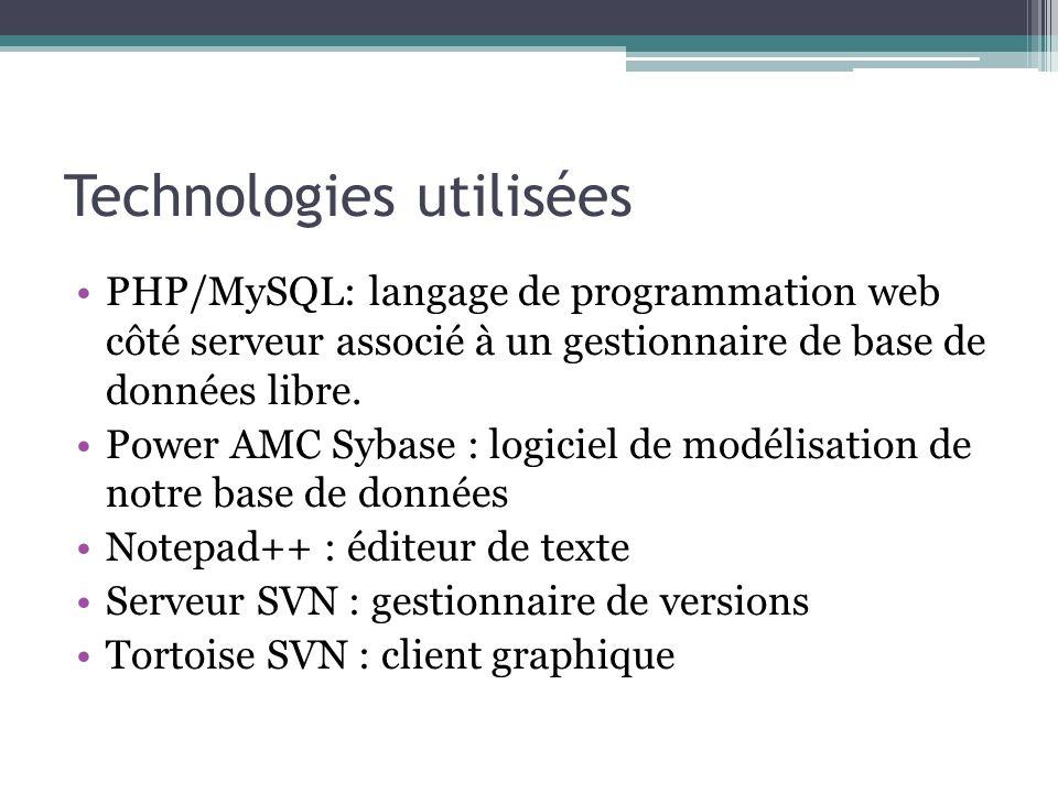 Technologies utilisées PHP/MySQL: langage de programmation web côté serveur associé à un gestionnaire de base de données libre.