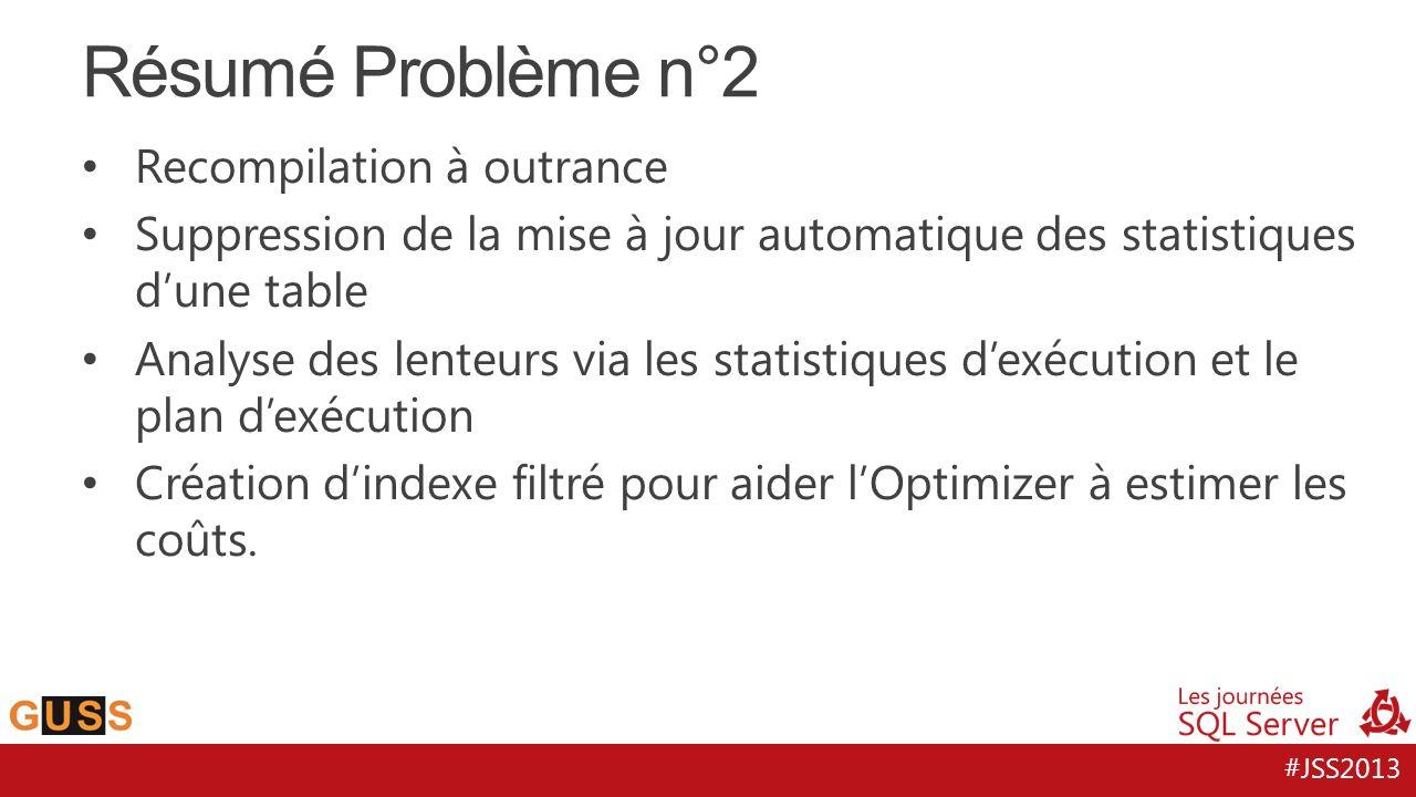 #JSS2013 Résumé Problème n°2 Recompilation à outrance Suppression de la mise à jour automatique des statistiques d'une table Analyse des lenteurs via les statistiques d'exécution et le plan d'exécution Création d'indexe filtré pour aider l'Optimizer à estimer les coûts.