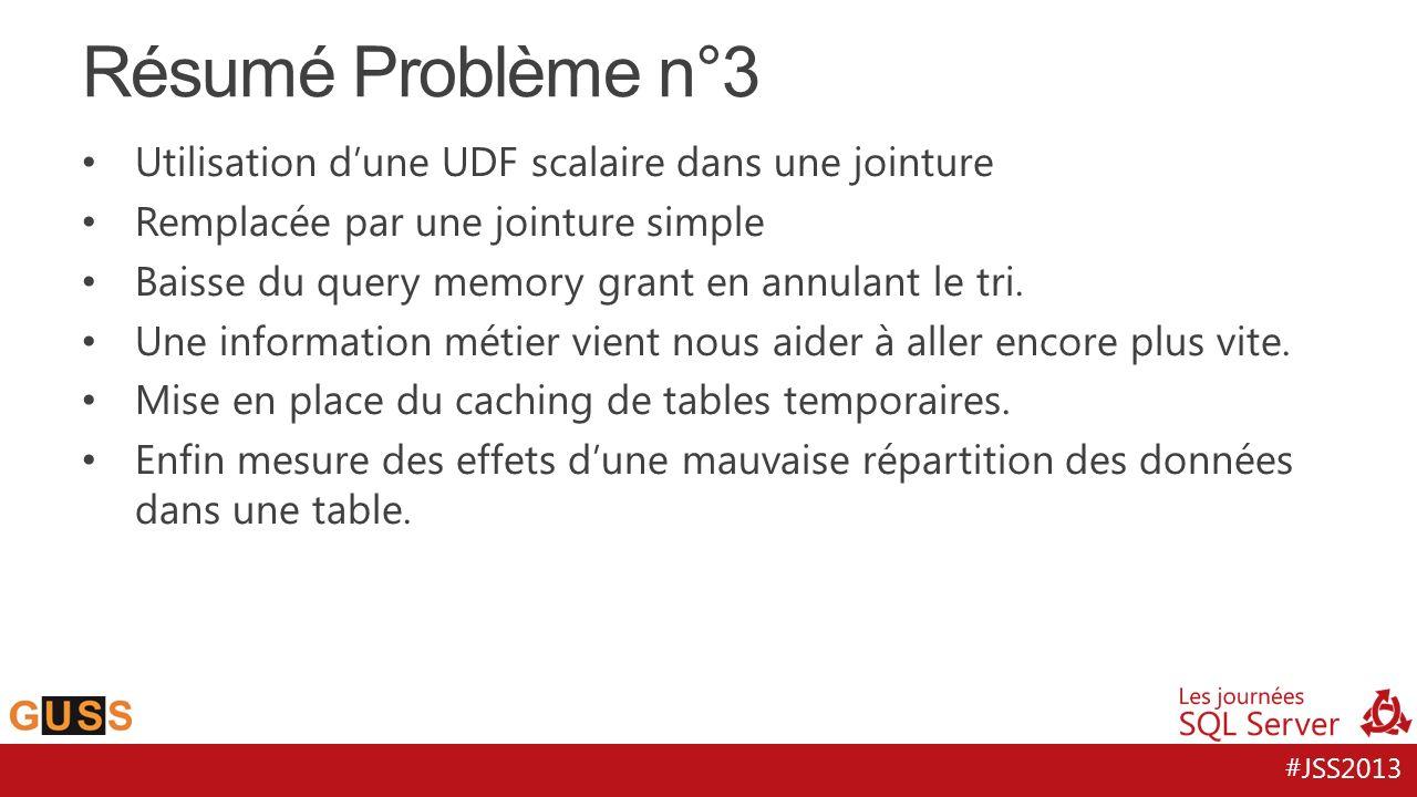 #JSS2013 Résumé Problème n°3 Utilisation d'une UDF scalaire dans une jointure Remplacée par une jointure simple Baisse du query memory grant en annulant le tri.