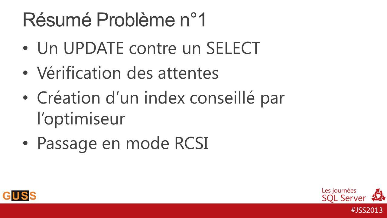 #JSS2013 Résumé Problème n°1 Un UPDATE contre un SELECT Vérification des attentes Création d'un index conseillé par l'optimiseur Passage en mode RCSI