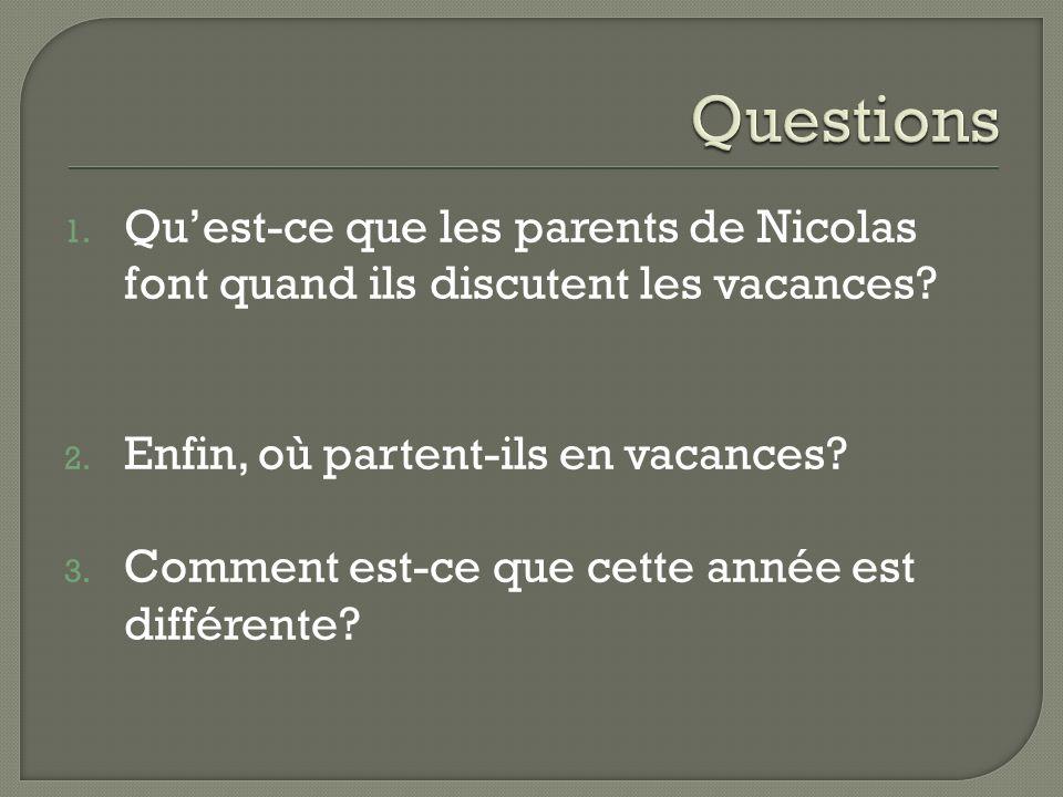 1. Qu'est-ce que les parents de Nicolas font quand ils discutent les vacances.
