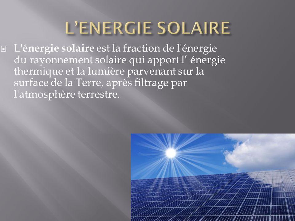  L énergie solaire est la fraction de l énergie du rayonnement solaire qui apport l' énergie thermique et la lumière parvenant sur la surface de la Terre, après filtrage par l atmosphère terrestre.