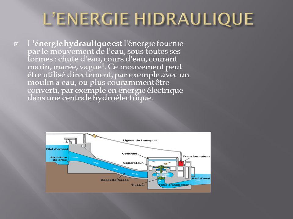  L énergie hydraulique est l énergie fournie par le mouvement de l eau, sous toutes ses formes : chute d eau, cours d eau, courant marin, marée, vague 1.