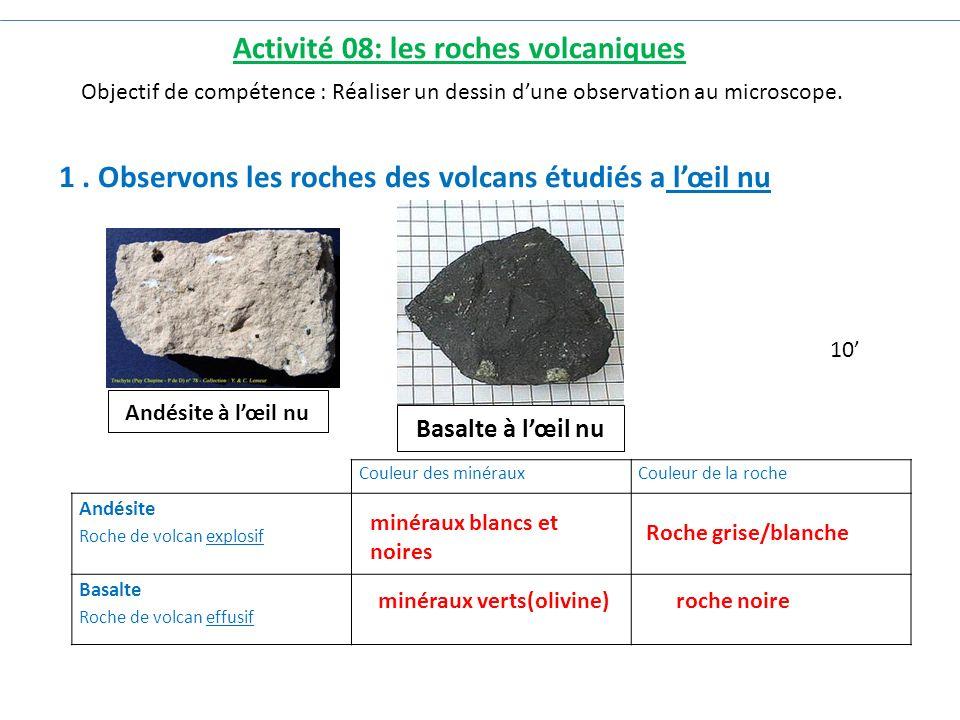 1. Observons les roches des volcans étudiés a l'œil nu Andésite à l'œil nu Basalte à l'œil nu Activité 08: les roches volcaniques 10' Couleur des miné