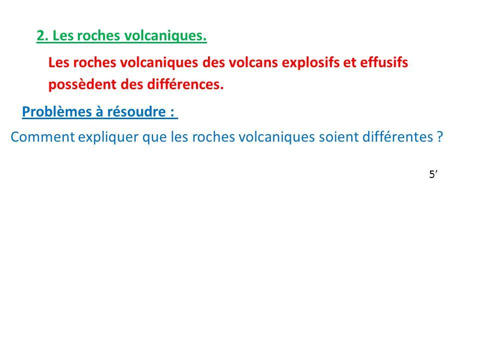 Les roches volcaniques des volcans explosifs et effusifs possèdent des différences.