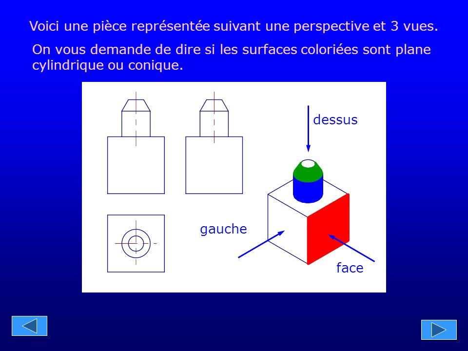 gauche face dessus Voici une pièce représentée suivant une perspective et 3 vues.