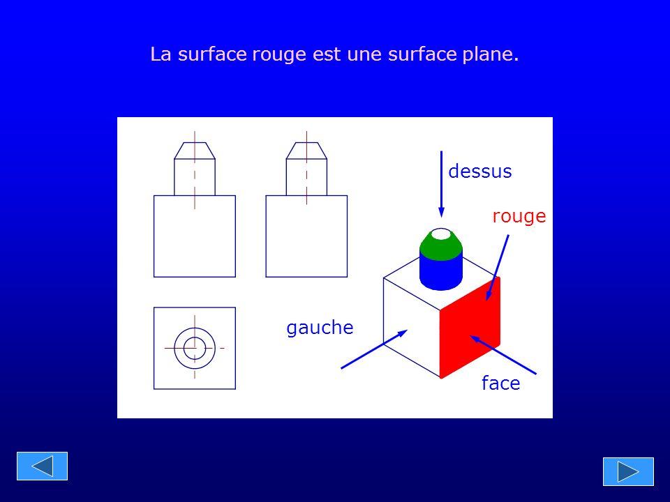 gauche face dessus La surface bleue est une surface cylindrique. bleu