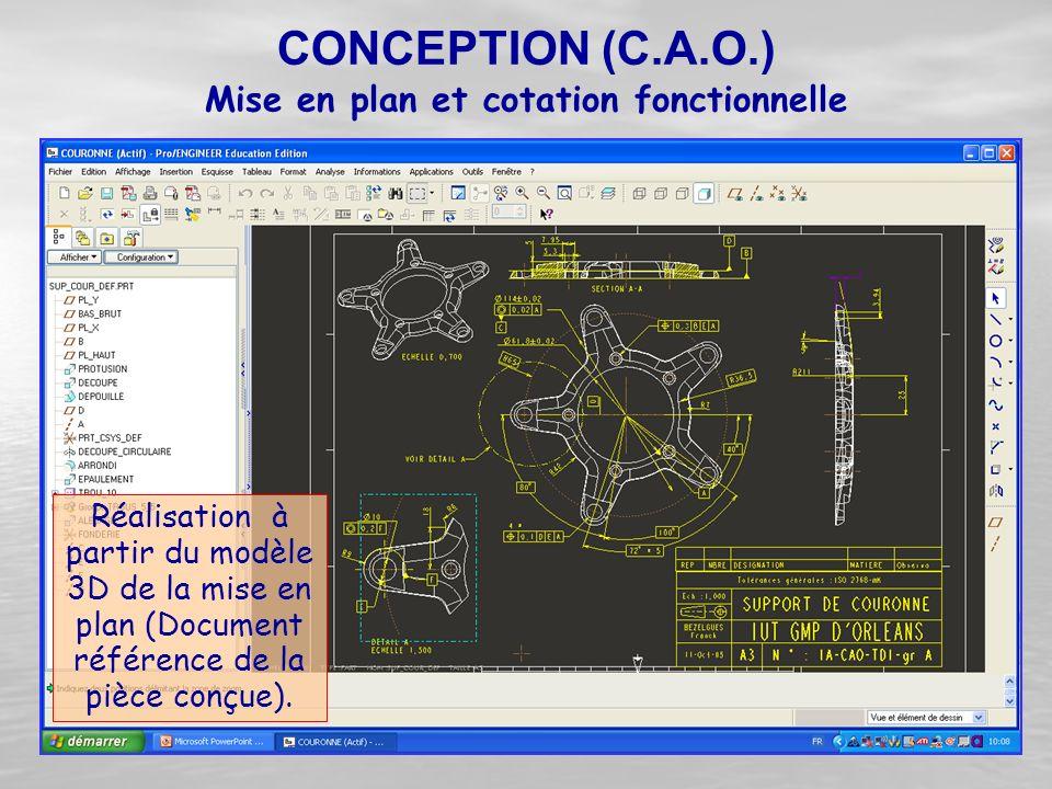 Réalisation à partir du modèle 3D de la mise en plan (Document référence de la pièce conçue). CONCEPTION (C.A.O.) Mise en plan et cotation fonctionnel