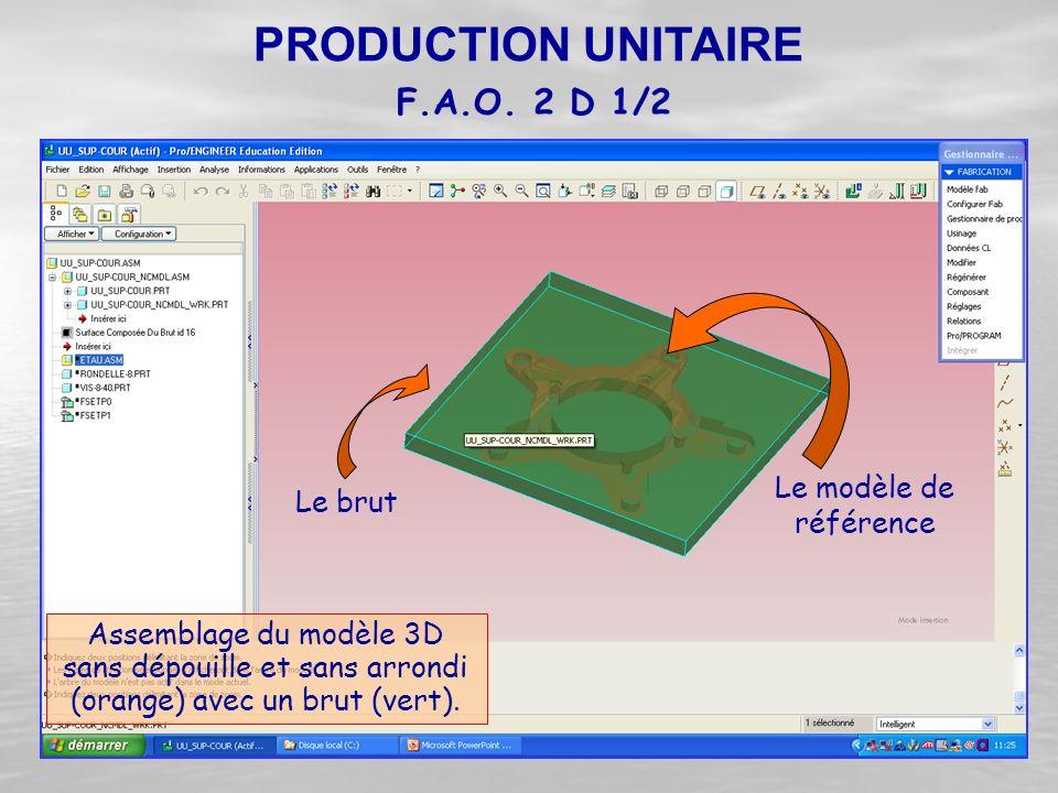 Assemblage du modèle 3D sans dépouille et sans arrondi (orange) avec un brut (vert). Le brut Le modèle de référence F.A.O. 2 D 1/2 PRODUCTION UNITAIRE