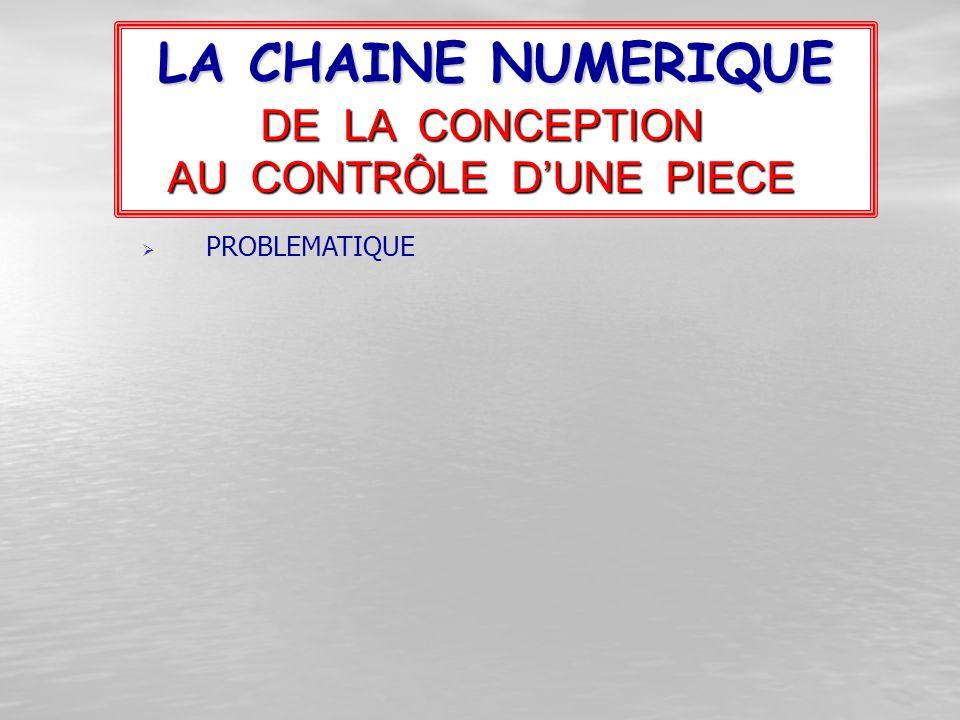 LA CHAINE NUMERIQUE DE LA CONCEPTION AU CONTRÔLE D'UNE PIECE PPROBLEMATIQUE