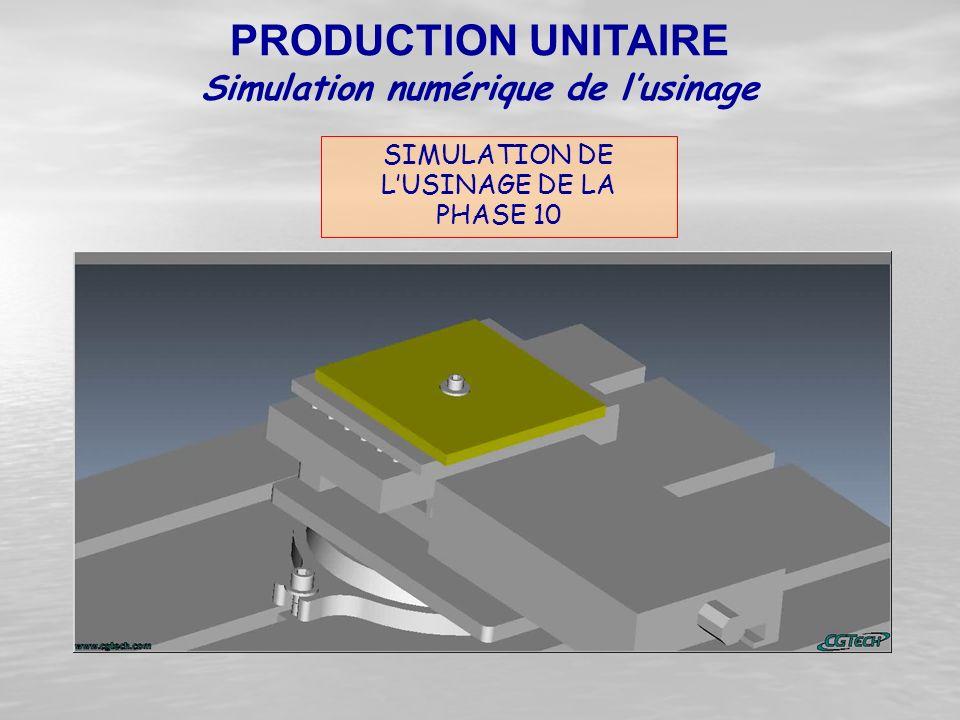 SIMULATION DE L'USINAGE DE LA PHASE 10 PRODUCTION UNITAIRE Simulation numérique de l'usinage