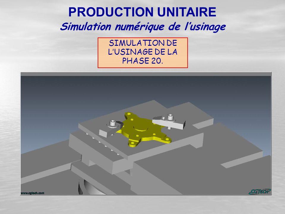 SIMULATION DE L'USINAGE DE LA PHASE 20. PRODUCTION UNITAIRE Simulation numérique de l'usinage