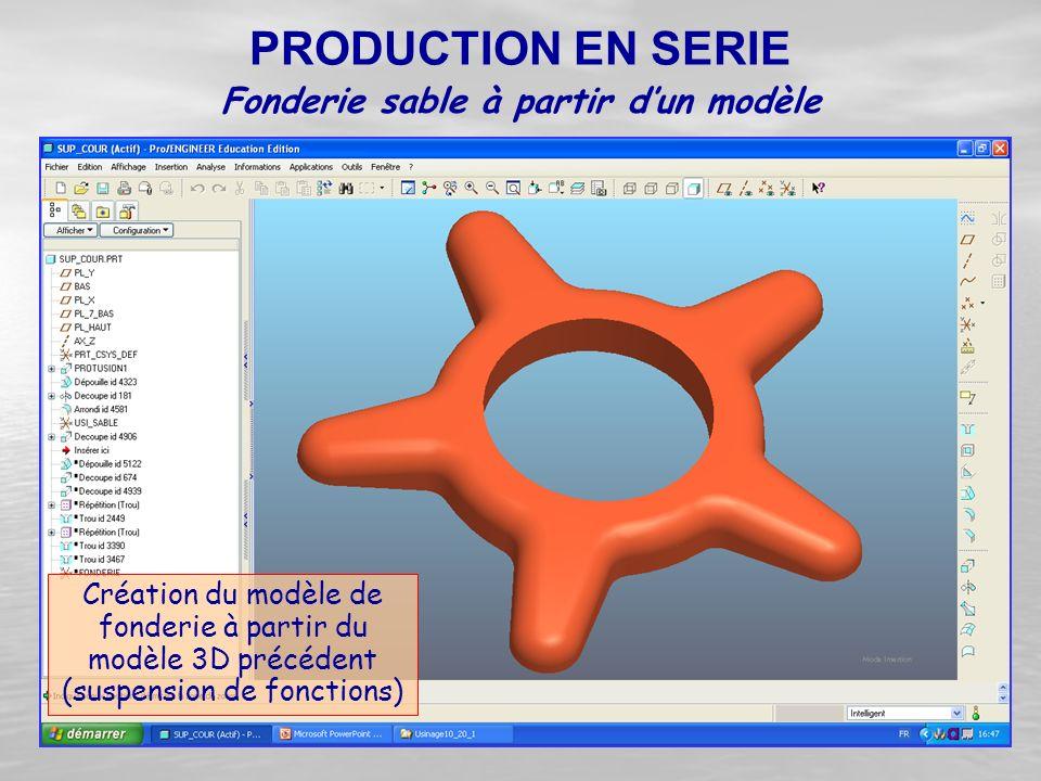 Création du modèle de fonderie à partir du modèle 3D précédent (suspension de fonctions) PRODUCTION EN SERIE Fonderie sable à partir d'un modèle