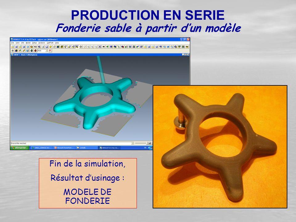 Fin de la simulation, Résultat d'usinage : MODELE DE FONDERIE Fonderie sable à partir d'un modèle PRODUCTION EN SERIE
