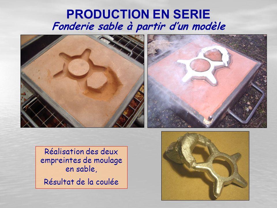 Réalisation des deux empreintes de moulage en sable, Résultat de la coulée Fonderie sable à partir d'un modèle PRODUCTION EN SERIE