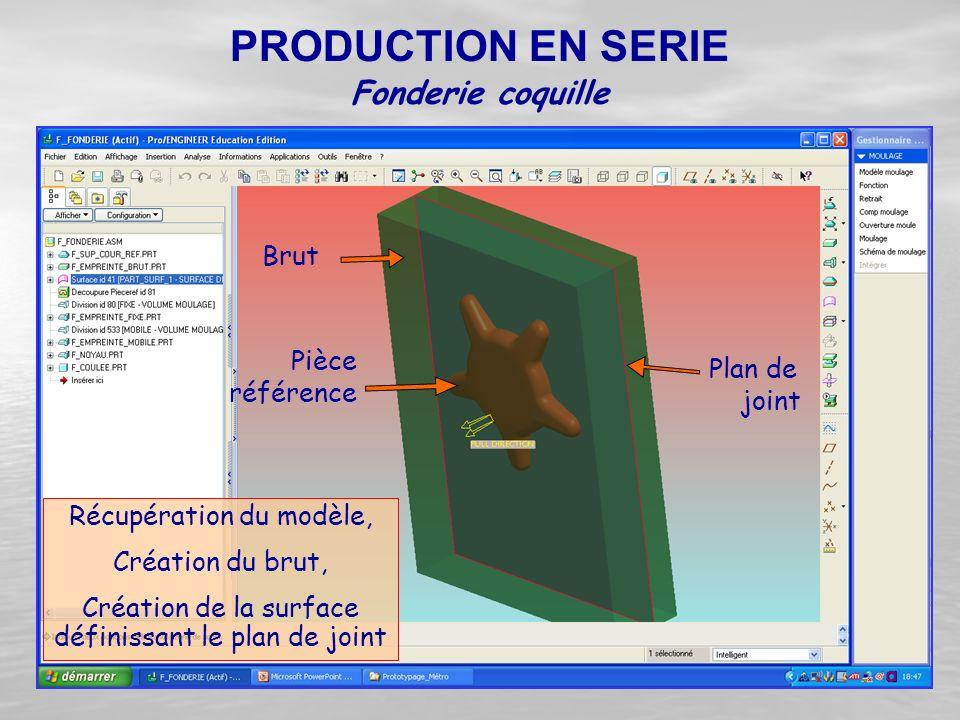 Récupération du modèle, Création du brut, Création de la surface définissant le plan de joint Fonderie coquille PRODUCTION EN SERIE Pièce référence Pl