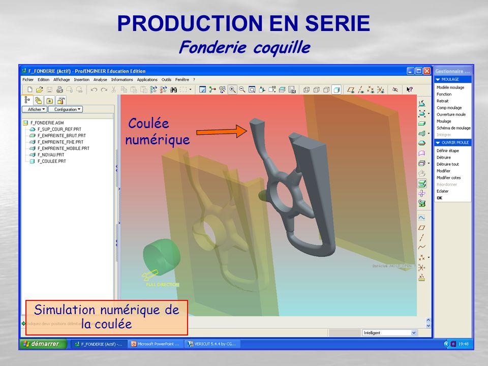 Simulation numérique de la coulée Fonderie coquille PRODUCTION EN SERIE Coulée numérique