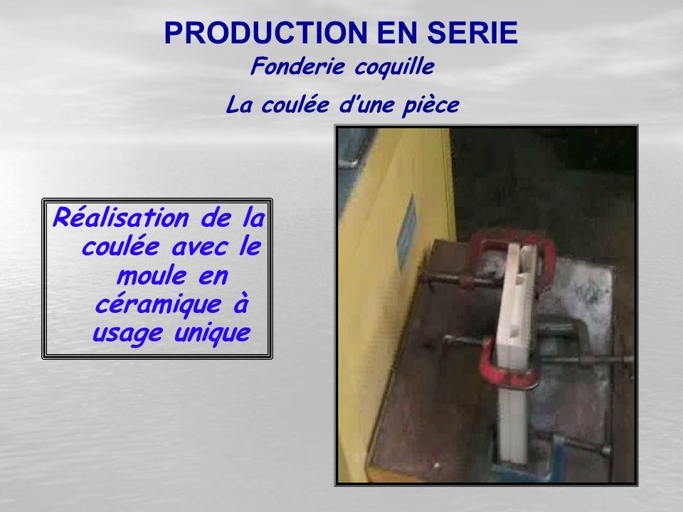Réalisation de la coulée avec le moule en céramique à usage unique Fonderie coquille PRODUCTION EN SERIE La coulée d'une pièce