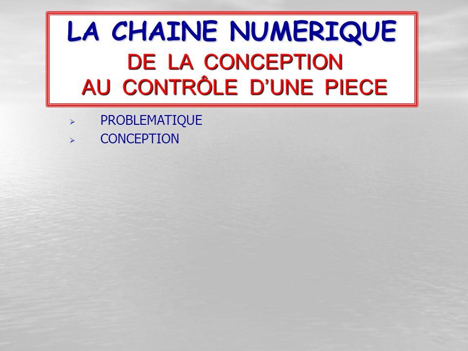 PPROBLEMATIQUE CCONCEPTION LA CHAINE NUMERIQUE DE LA CONCEPTION AU CONTRÔLE D'UNE PIECE
