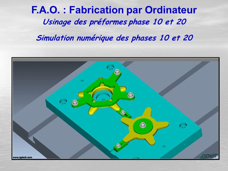 Usinage des préformes phase 10 et 20 F.A.O. : Fabrication par Ordinateur Simulation numérique des phases 10 et 20