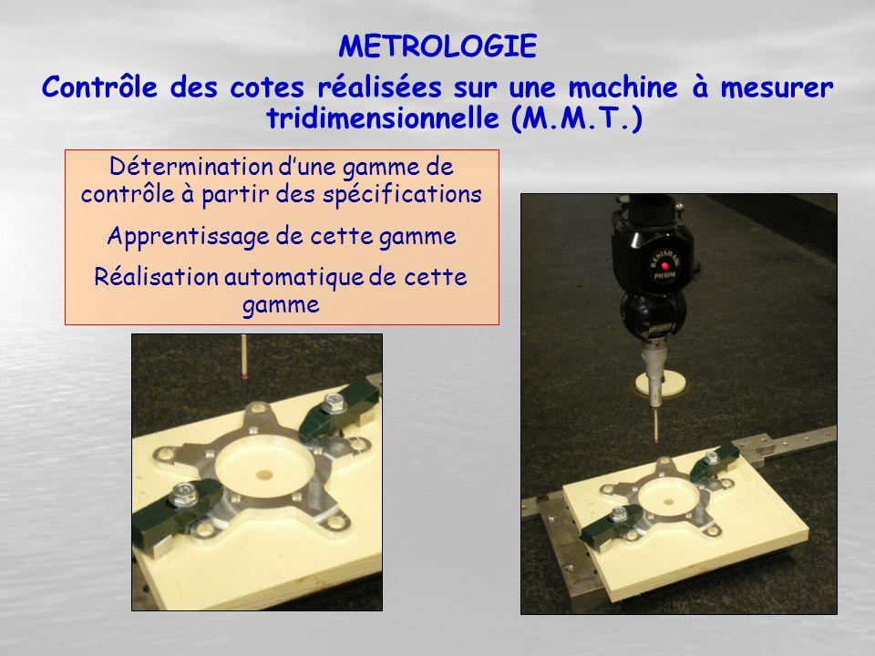 Contrôle des cotes réalisées sur une machine à mesurer tridimensionnelle (M.M.T.) Détermination d'une gamme de contrôle à partir des spécifications Ap