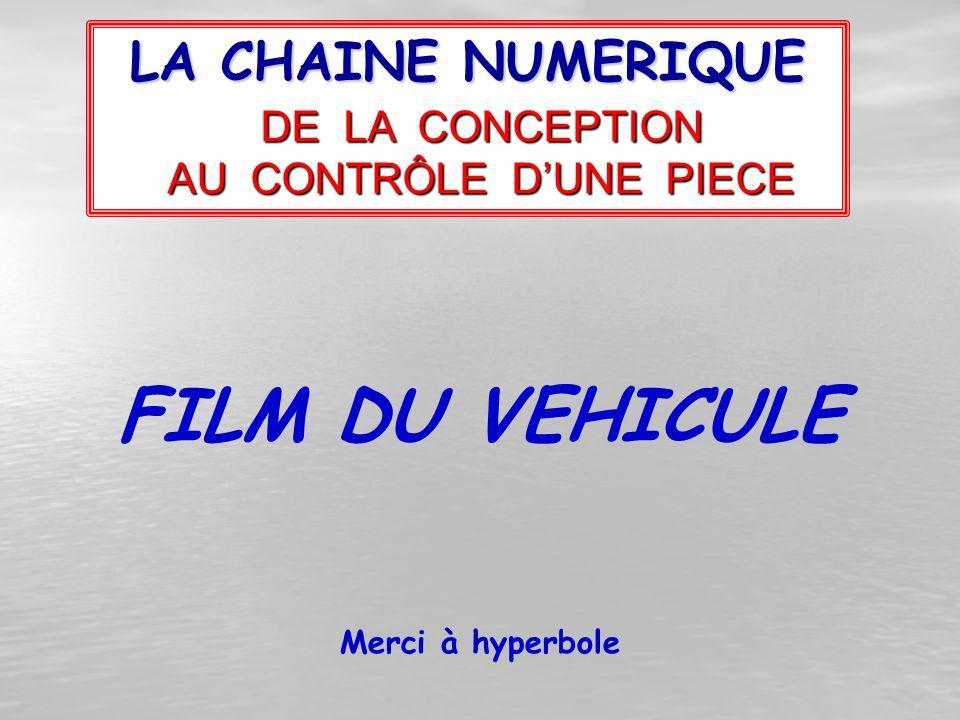 LA CHAINE NUMERIQUE DE LA CONCEPTION AU CONTRÔLE D'UNE PIECE Merci à hyperbole FILM DU VEHICULE