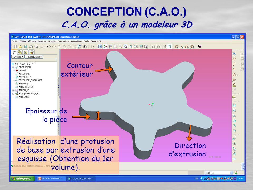 Réalisation d'une protusion de base par extrusion d'une esquisse (Obtention du 1er volume). C.A.O. grâce à un modeleur 3D CONCEPTION (C.A.O.) Directio
