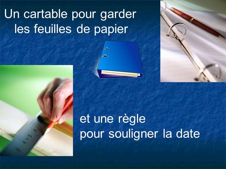 Un cartable pour garder les feuilles de papier et une règle pour souligner la date
