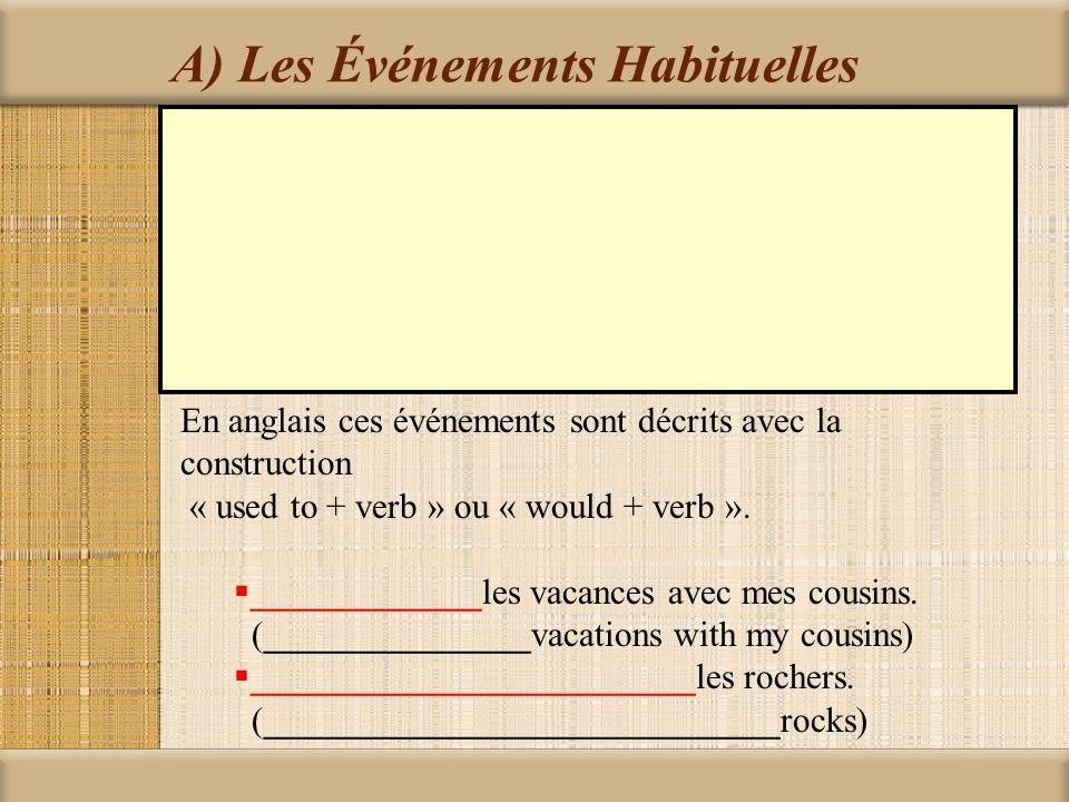 A) Les Événements Habituelles L'imparfait est utilisé avec les expressions comme ___________________________ ____________________________________ (ces expressions indiquent l'habitude ou répétition) Généralement ___________ faire le gymnastique après l'école Les étés, habituellement, __________________ notre grand-mère.