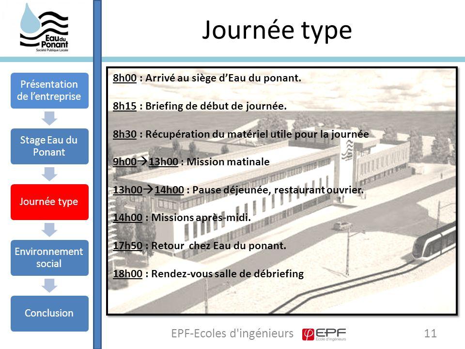 Journée type 11EPF-Ecoles d ingénieurs 8h00 : Arrivé au siège d'Eau du ponant.