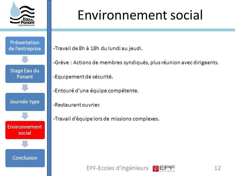 Environnement social 12EPF-Ecoles d ingénieurs Présentation de l'entreprise Stage Eau du Ponant Journée type Environnement social Conclusion -Travail de 8h à 18h du lundi au jeudi.