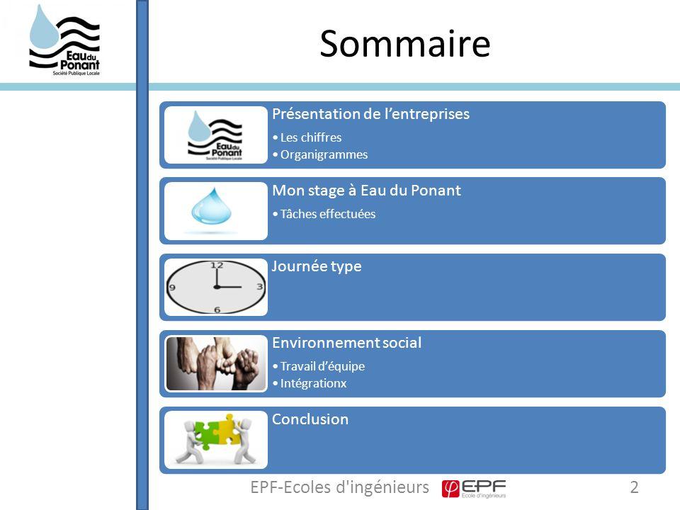 Conclusion 13EPF-Ecoles d ingénieurs J'ai apprécié ce stage dans la société Eau du Ponant car : -Expérience riche en enseignement à plus d'un titre (autonomie, responsabilités, prise d'initiatives …) -Fonctionnement d'une entreprise au quotidien -Fonctionnement d'une équipe, travail d'équipe -Stage domaine de l'environnement et des eaux, m'a permis d'enrichir mon parcours personnel.