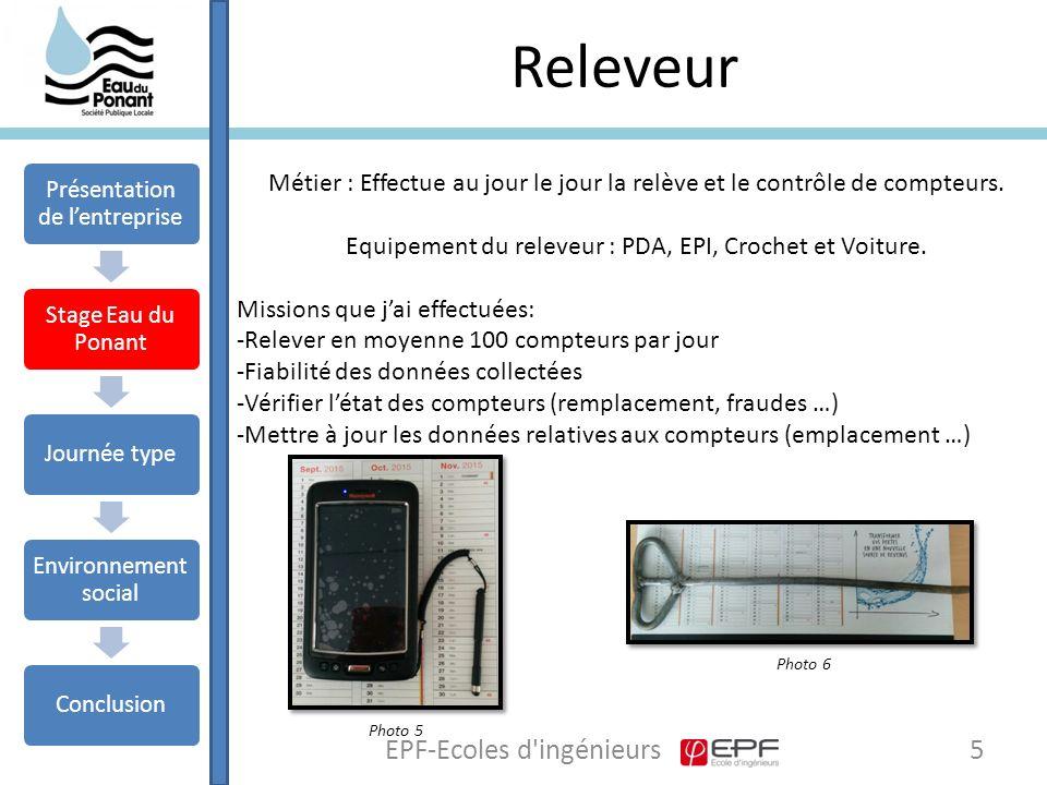 Releveur 5EPF-Ecoles d ingénieurs Métier : Effectue au jour le jour la relève et le contrôle de compteurs.