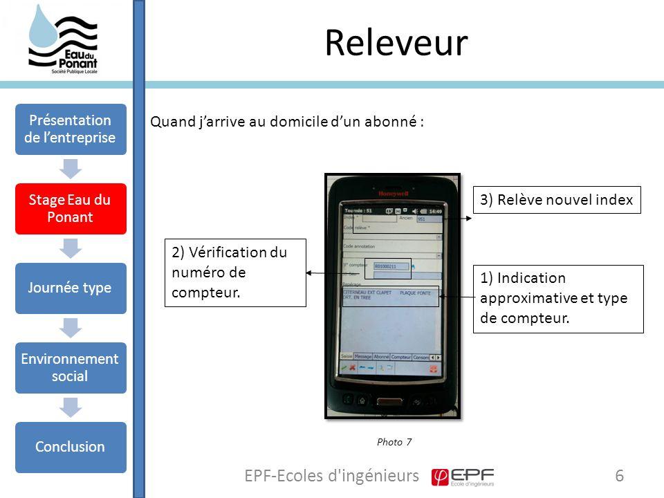 Releveur 6EPF-Ecoles d ingénieurs Quand j'arrive au domicile d'un abonné : 1) Indication approximative et type de compteur.