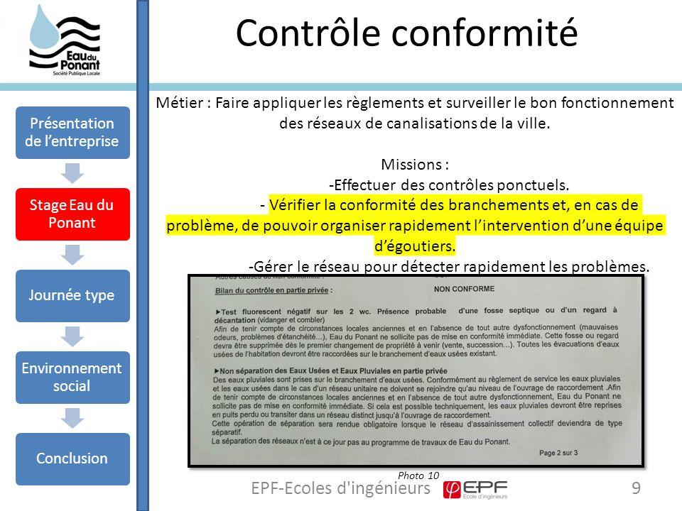 Contrôle conformité 9EPF-Ecoles d ingénieurs Métier : Faire appliquer les règlements et surveiller le bon fonctionnement des réseaux de canalisations de la ville.