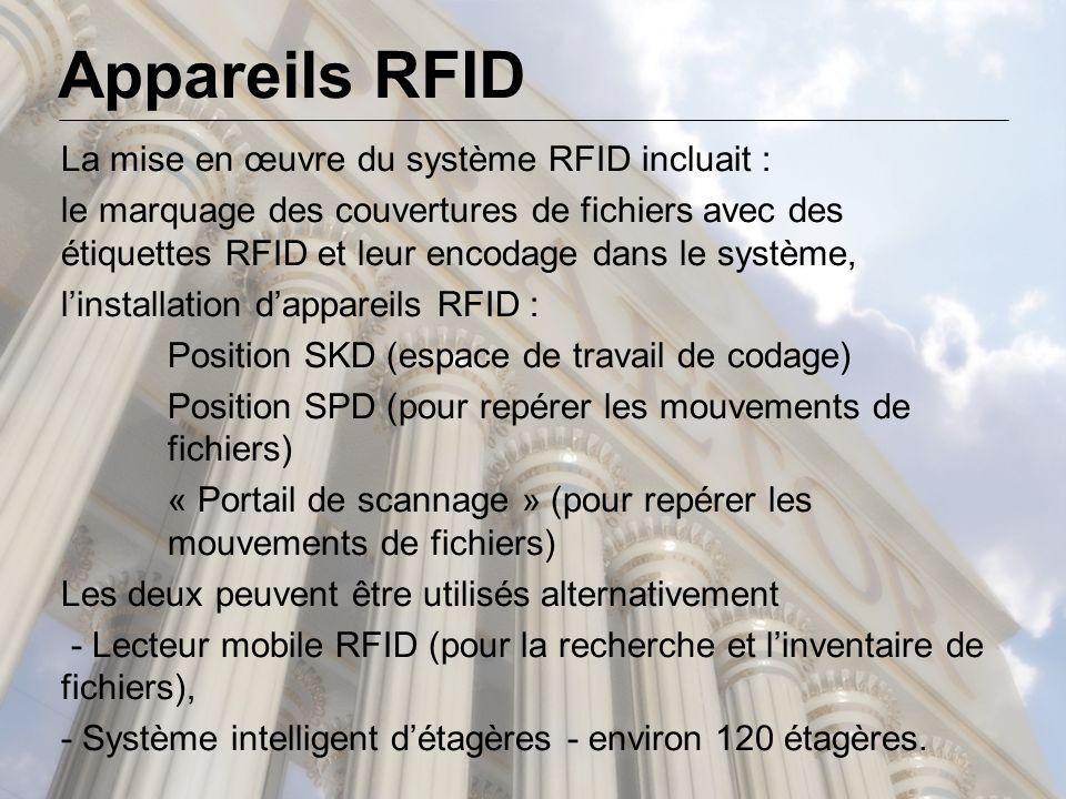 La mise en œuvre du système RFID incluait : le marquage des couvertures de fichiers avec des étiquettes RFID et leur encodage dans le système, l'installation d'appareils RFID : Position SKD (espace de travail de codage) Position SPD (pour repérer les mouvements de fichiers) « Portail de scannage » (pour repérer les mouvements de fichiers) Les deux peuvent être utilisés alternativement - Lecteur mobile RFID (pour la recherche et l'inventaire de fichiers), - Système intelligent d'étagères - environ 120 étagères.