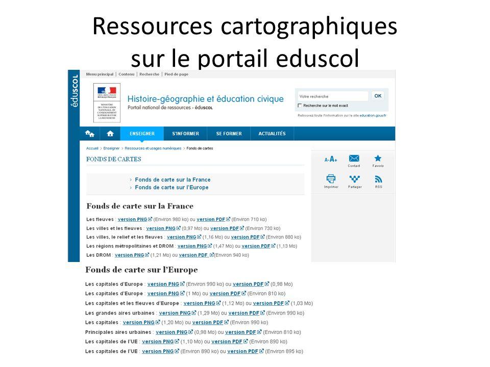 Ressources cartographiques sur le portail eduscol