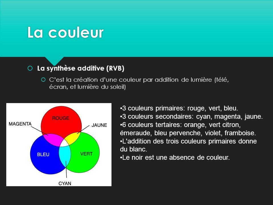 La couleur  La synthèse additive (RVB)  C'est la création d'une couleur par addition de lumière (télé, écran, et lumière du soleil) 3 couleurs primaires: rouge, vert, bleu.