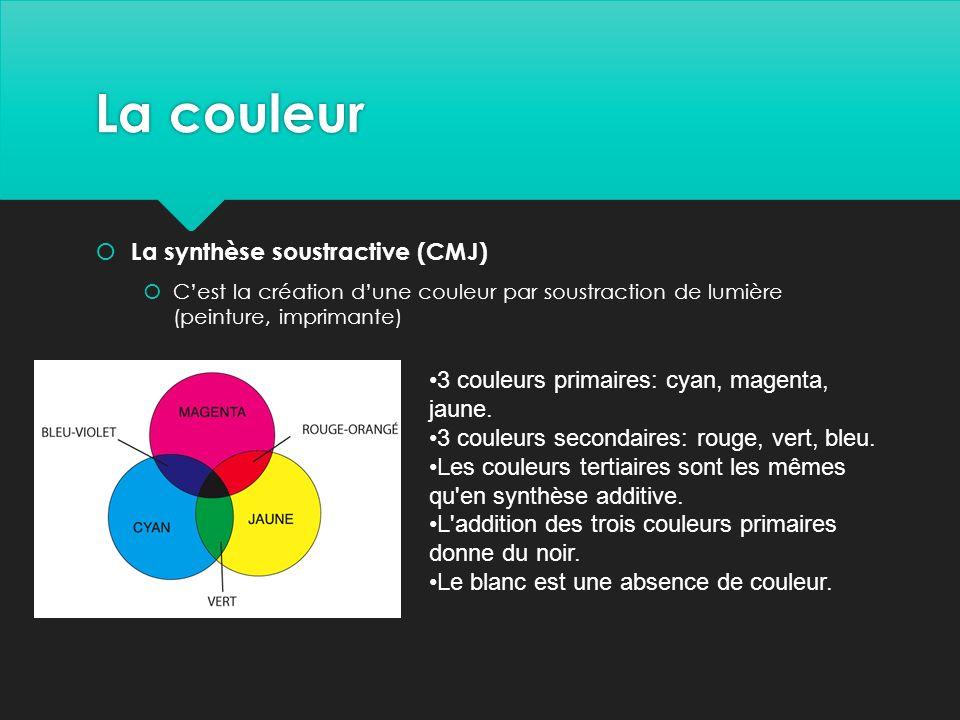La couleur  La synthèse soustractive (CMJ)  C'est la création d'une couleur par soustraction de lumière (peinture, imprimante) 3 couleurs primaires: cyan, magenta, jaune.